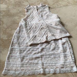 Aqua top and skirt set in cream Lacey design XS